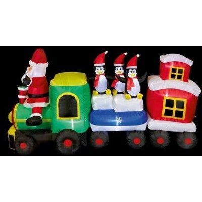 9 LED White Outdoor Inflatable Train Christmas Decoration Mains 5M