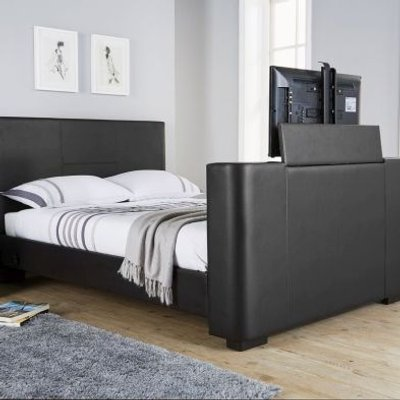 Newark Double TV Bed Black Faux Leather