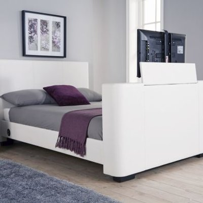 Newark Double TV Bed White Faux Leather