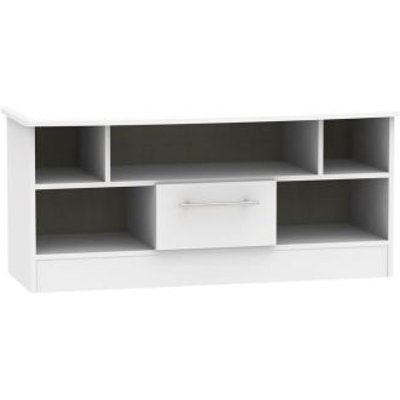 Colby TV Unit White 5 Shelf 1 Drawer