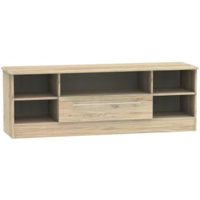 Colby Wide TV Unit 5 Shelf 1 Drawer Bordeux Oak Style