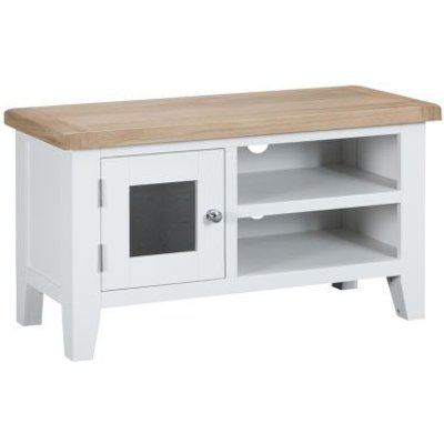 Lighthouse TV Unit Oak & White 1 Door 2 Shelf