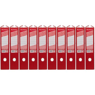Ryman Colour Lever Arch Files Foolscap Pack of 10, Red