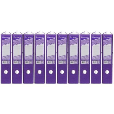 Ryman Colour Lever Arch Files Foolscap Pack of 10, Purple