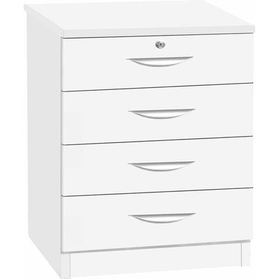 R White Four Drawer Chest 720mm Height, White