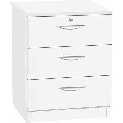 R White 3 Drawer CD and DVD Chest 720mm Height, White