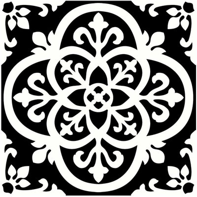 Gothic Peel and Stick Floor Tiles, Black/White