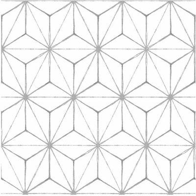 Kikko Peel and Stick Floor Tiles, Grey/White