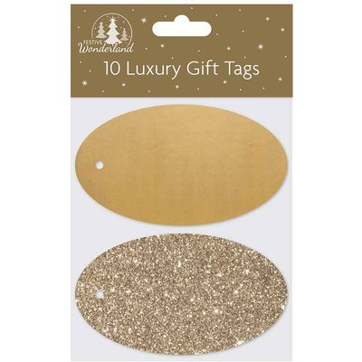 Oval Christmas Gift Tags Pack of 10, Gold