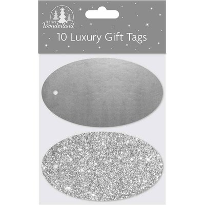Oval Christmas Gift Tags Pack of 10, Silver