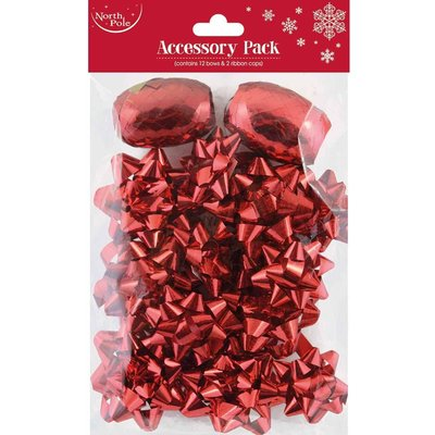 Christmas Accessory Pack with 12 Bows and 2 Cops, Red