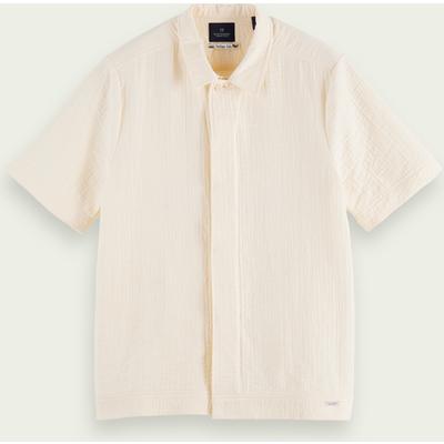 Scotch & Soda Kurzärmliges Sashiko-Shirt aus Baumwollmischung