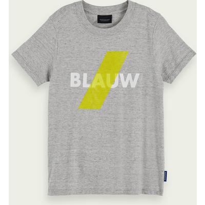 Scotch & Soda Kurzärmliges Blauw Logo-T-Shirt aus 100% Baumwolle