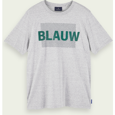 Scotch & Soda Blauw kurzärmliges T-Shirt aus Bio-Baumwolle