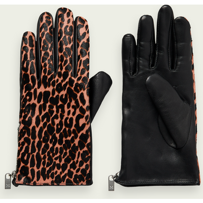 Scotch & Soda Lederhandschuhe mit Animal-Print
