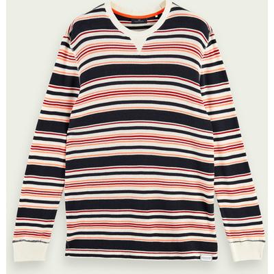 Scotch & Soda Langärmliges, gestreiftes T-Shirt aus Baumwollmischung mit Waffelstruktur