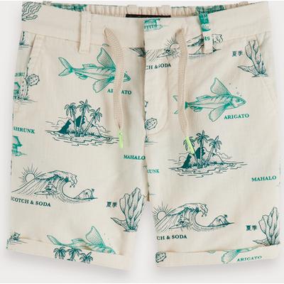 Scotch & Soda Bedruckte Shorts aus Baumwollleinen