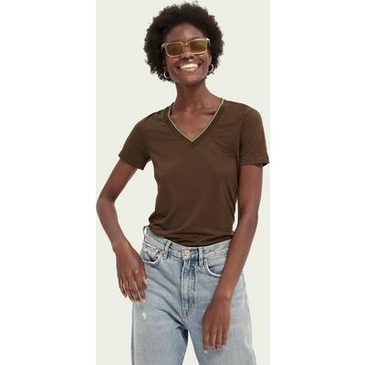 Scotch & Soda T-Shirt aus TENCEL™ mit V-Ausschnitt | SCOTCH & SODA SALE