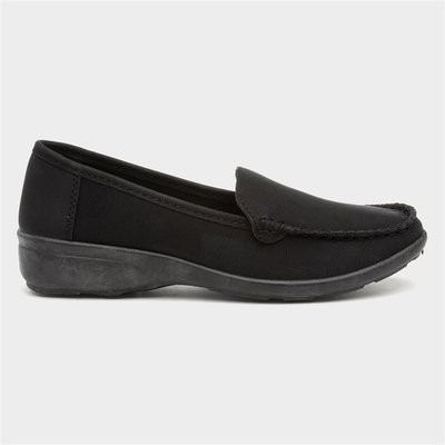 Softlites Womens Black Casual Comfort Loafer Shoe