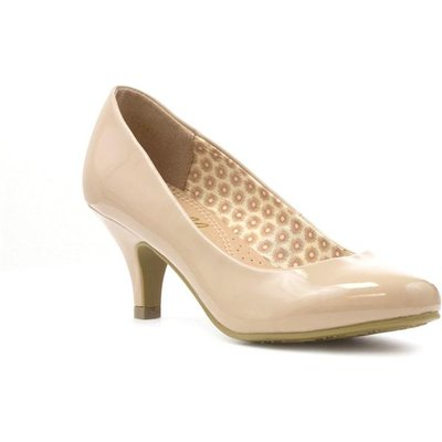Lilley Womens Patent Court Shoe in Nude