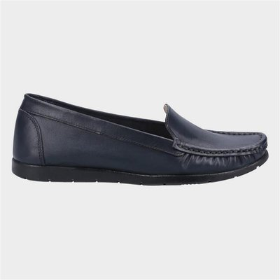 Fleet And Foster Womens Tiggy Leather Loafer in Navy
