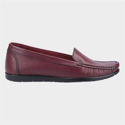 Fleet And Foster Womens Tiggy Red Leather Loafer