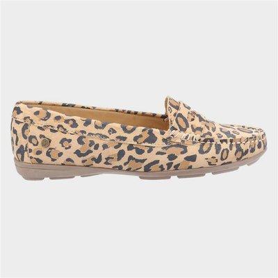 Hush Puppies Margot Womens Suede Leopard Loafer
