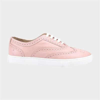 Hush Puppies Womens Tammy Pink Leather Brogue