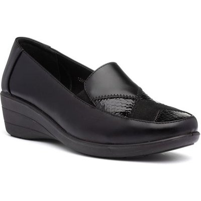 Womens Black Slip On Wedge Shoe