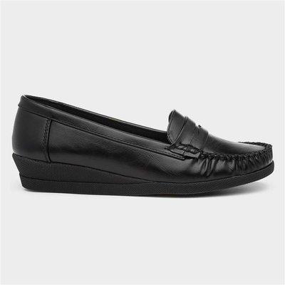 Softlites Womens Black Moccasin Loafer Shoe