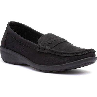 Softlites Womens Black Slip On Flat Loafer
