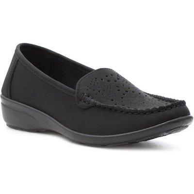 Softlites Womens Black Slip On Casual Loafer