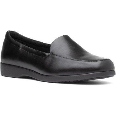 Clarks Georgia Womens Black Slip On Loafer