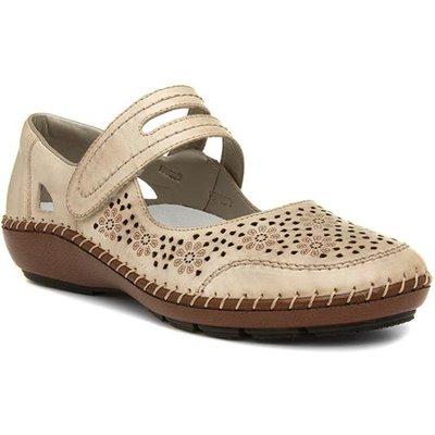 Rieker Womens Beige Touch Fasten Shoe