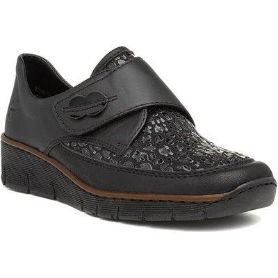 Rieker Womens Black Easy Fasten Wedge Shoe