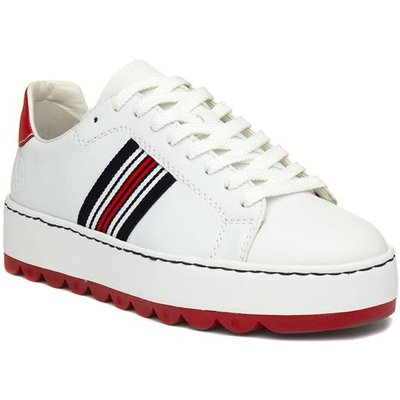 Rieker Womens White Stripe Lace Up Trainer