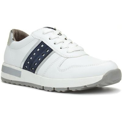 Relife Womens White Casual Lace Up Trainer