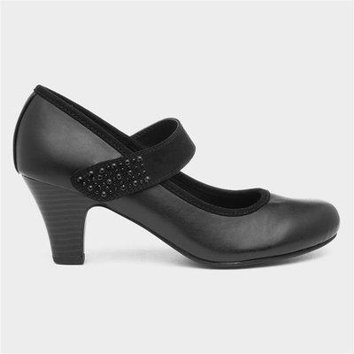 Lilley Womens Black Diamante Court Shoe