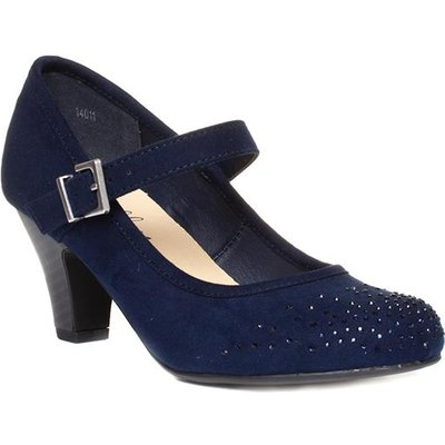 Lilley Womens Navy Diamante Bar Court Shoe