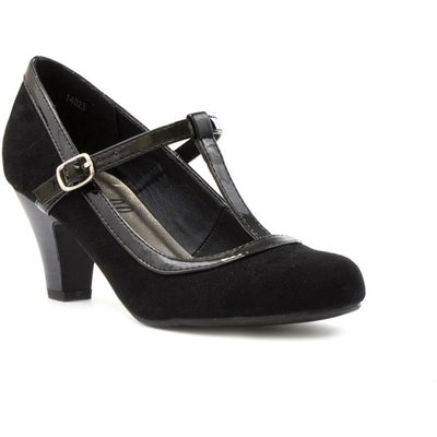 Lilley Womens Black Faux Suede T Bar Court Shoe