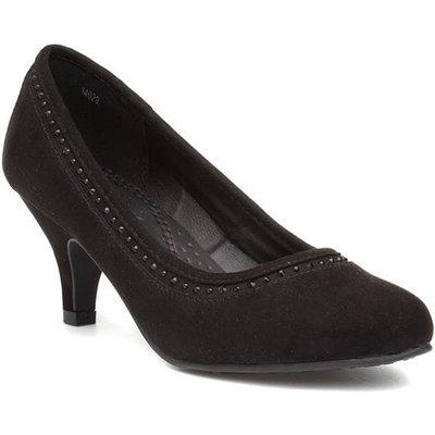 Lilley Womens Diamante Court Shoe in Black