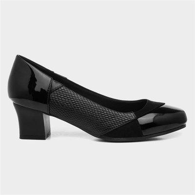 Softlites Womens Black Block Heel Court Shoe