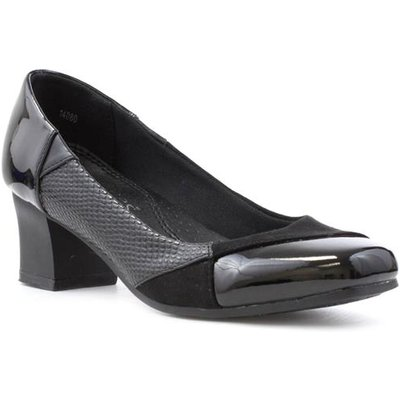 Softlites Womens Black Block Heel Court Shoe