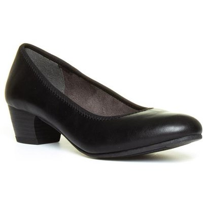 Jana Softline Womens Block Heel Black Court Shoe