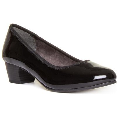 Jana Softline Womens Black Block Heel Court Shoe