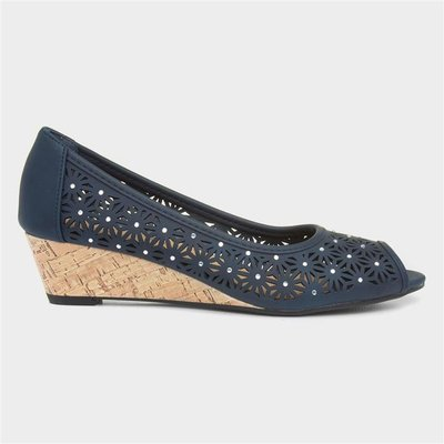 Lilley Womens Navy Wedge Open Toe Court Shoe