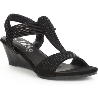 Lilley Womens Wedge Studded Sandal in Black