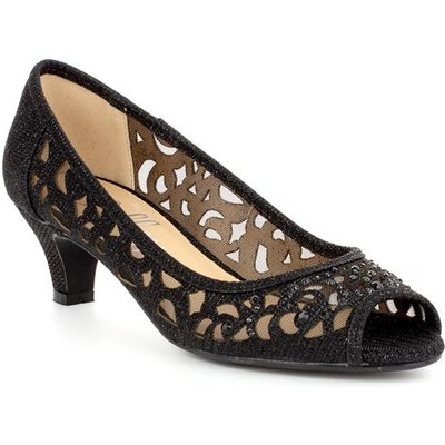 Lilley Womens Black Lace Mesh Court Shoe