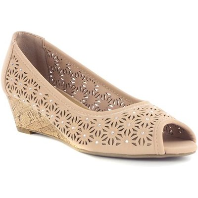 Lilley Womens Cut Out Wedge in Nude