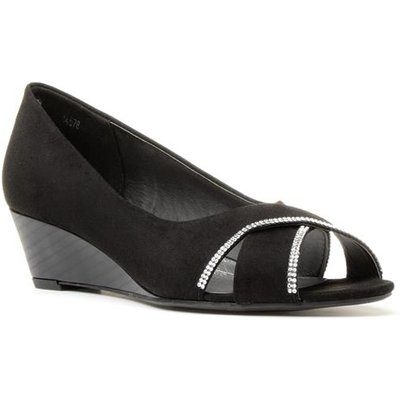 Lilley Womens Black Wedge Shoe